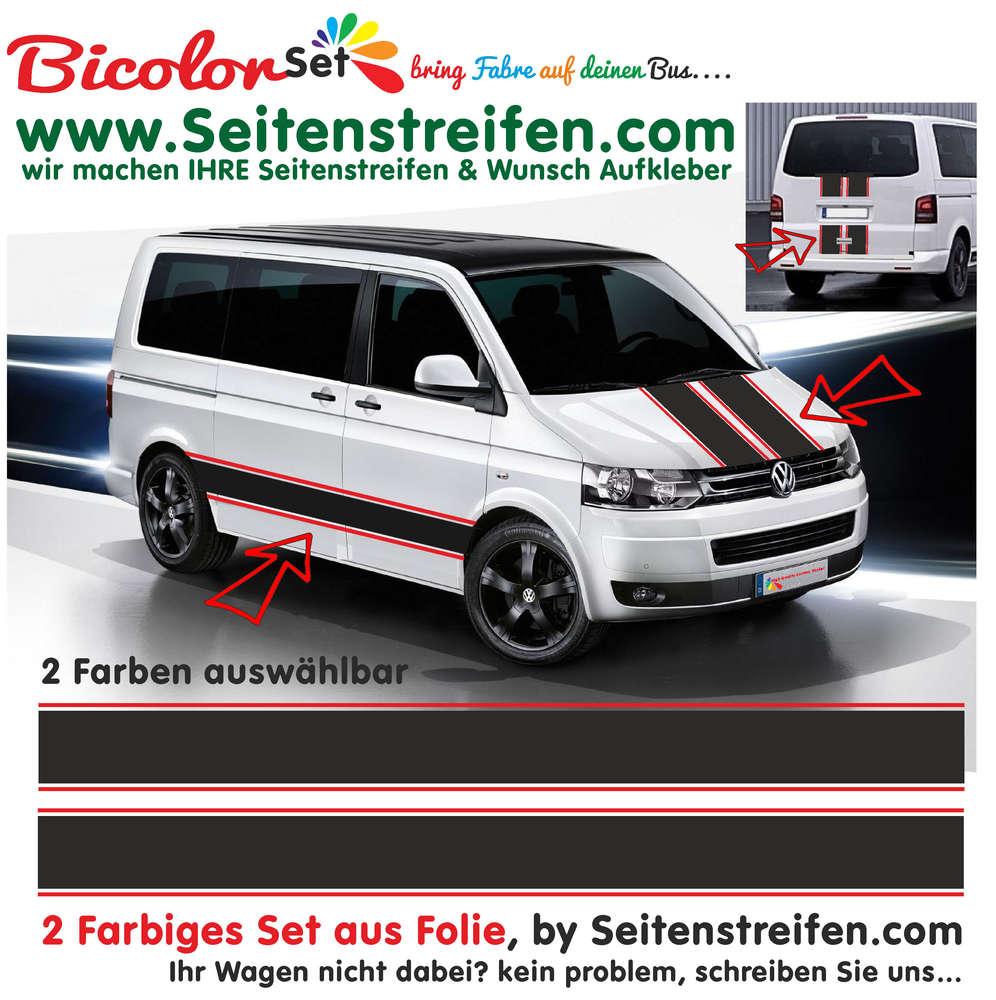 vw bus t4 t5 t6 bicolor xxl seitenstreifen aufkleber dekor. Black Bedroom Furniture Sets. Home Design Ideas