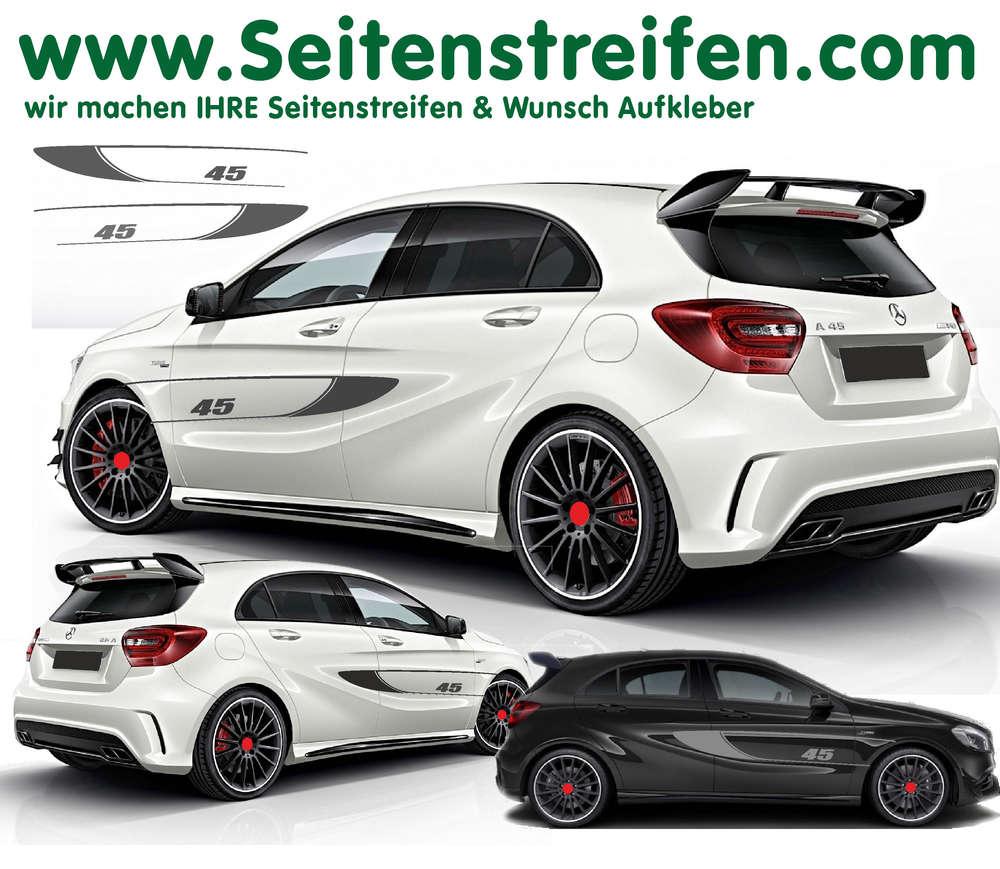 Mercedes Benz Amg 45 Edition 1 Seitenstreifen Replika Aufkleber Komplett Set Für A Klasse 6103