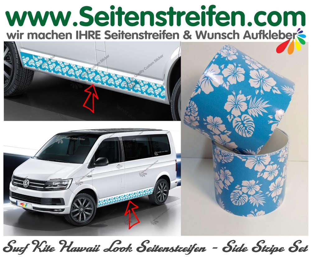 hibiskus blau weiss surf kite hawaii seitenstreifen. Black Bedroom Furniture Sets. Home Design Ideas