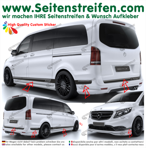 Mercedes Benz V Clase modelo 447 / 693 / 638 - 507 look set completo pegatinas laterales - n°6757