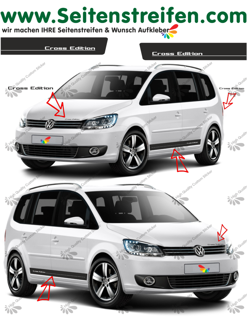"VW Touran Cross Edition Seitenstreifen Aufkleber Set ""- Art.Nr.: 3777"