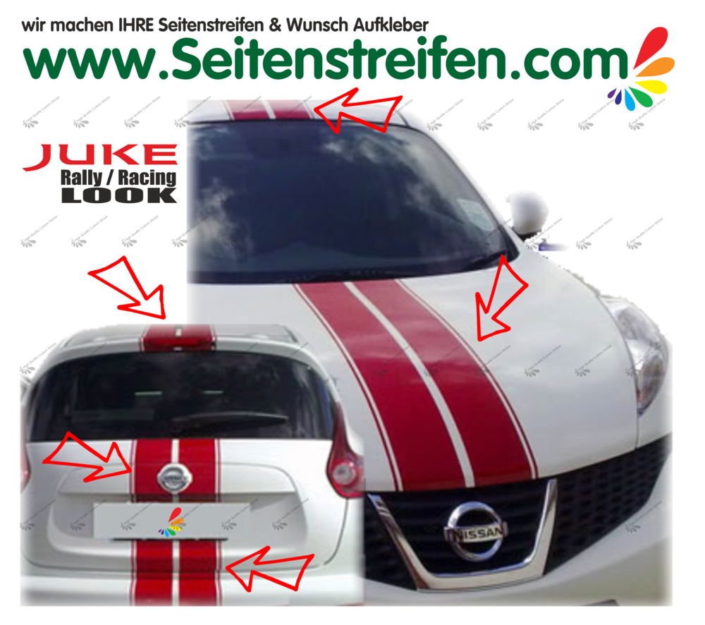 Nissan Juke Nismo Viper Rally Side Stripes Sticker Decal Complete