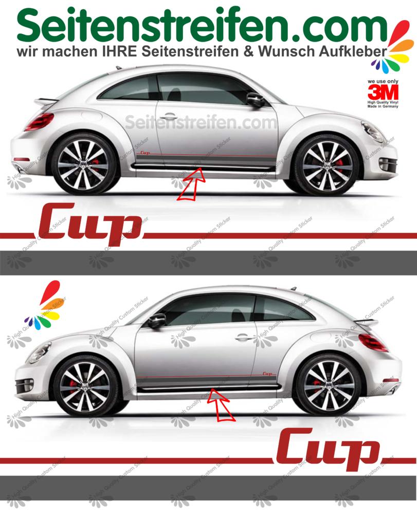 Vw Beetle Käfer Cup Seitenstreifen Dekor Aufkleber Komplett Set In Anthrazit Rot Art 9531