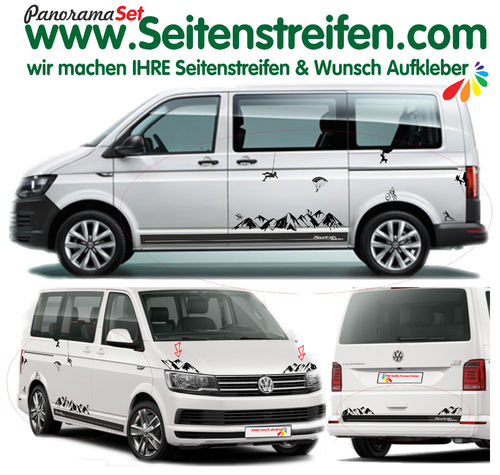 VW T4 T5 T6 Mountain Edition Berg Panorama Outdoor Sport Dekor Aufkleber XL Set N° 1903