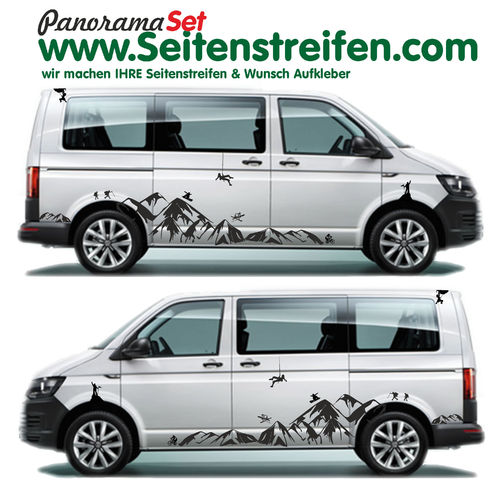 VW Bus T4 T5 T6 Mountain Berg Panorama Outdoor Sport  Pegatinas Laterales Set completo N°  1904