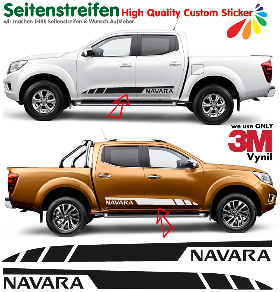 Nissan navara side stripes sticker decal complete set n 1538