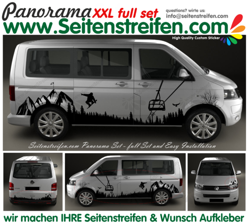 VW T4 T5 T6 Berg Mountain Wald Outdoor XXL Panorama Set Aufkleber Dekor Set N° 3331