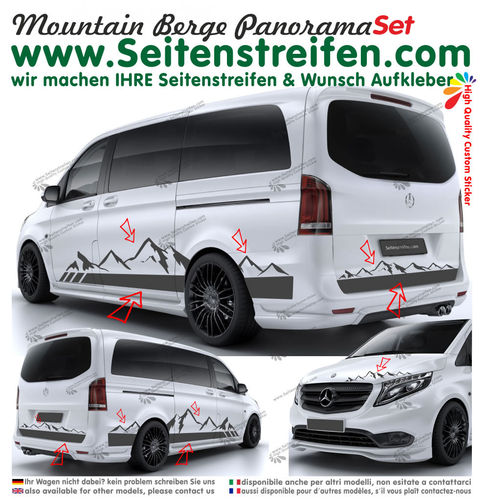 Mercedes Benz V Klasse Berg Mountain Panorama Outdoor Seitenstreifen Aufkleber Set N° 949