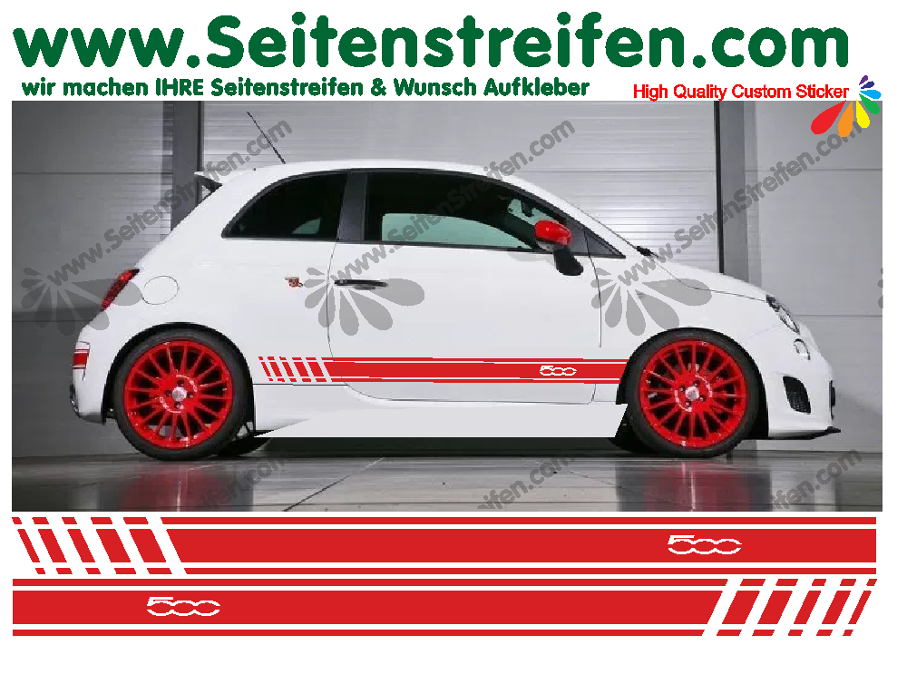 Fiat 500 Side Stripes Decal Sticker Graphics