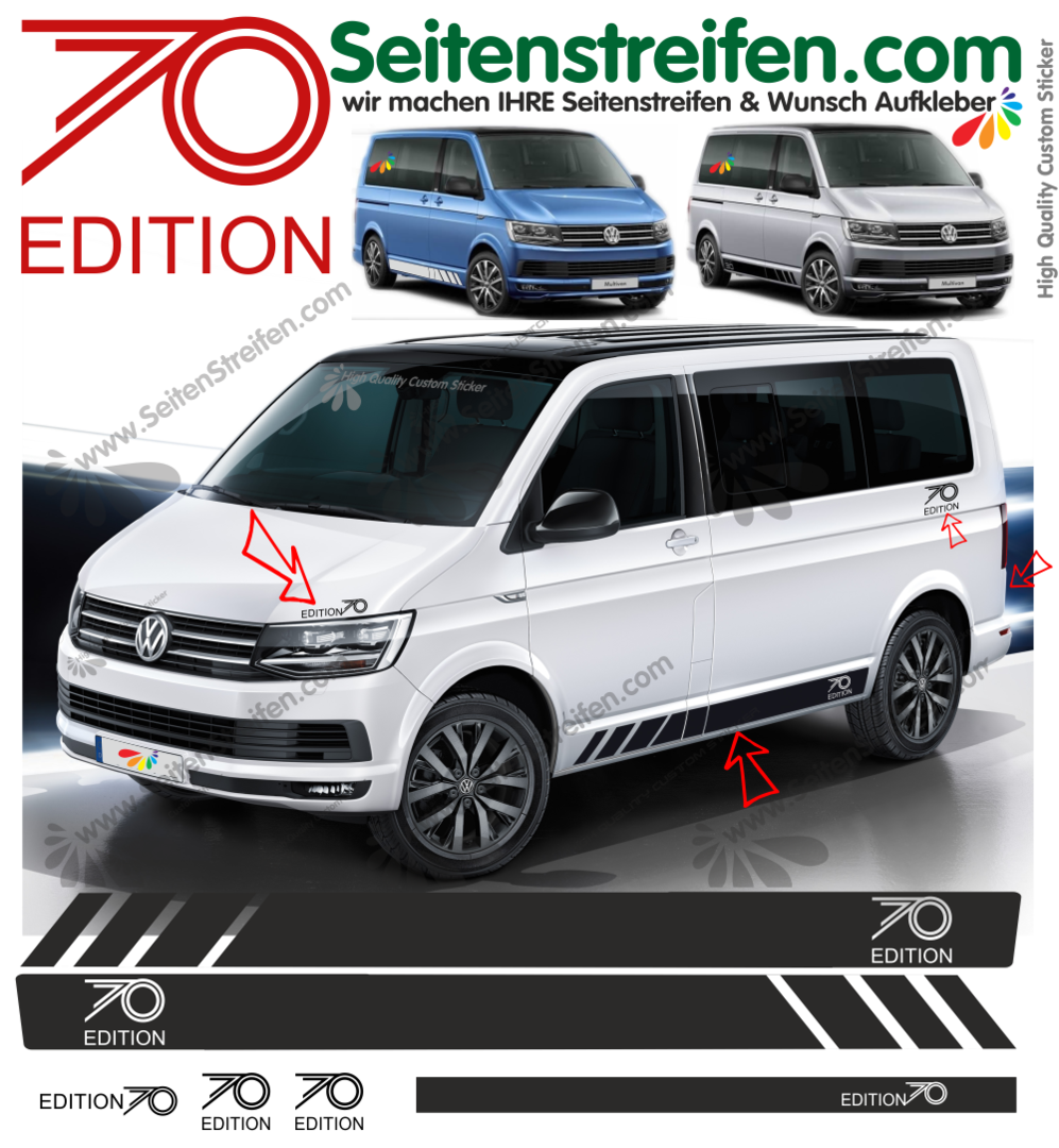 VW Bus T5 T6 - EDITION 70 Years side stripe sticker decal complete ...