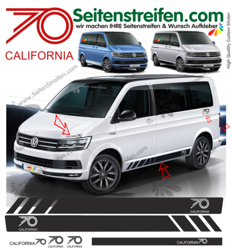 VW BUS T5 T6 California edition 70 ans bande latérale autocollant ensemble complet set -  N° 9478