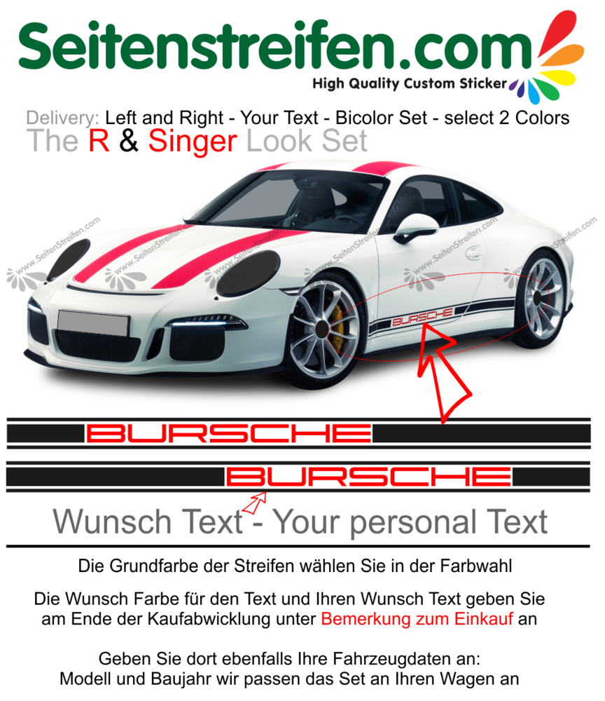 Porsche your text r singer side stripes sticker decor set for all models n
