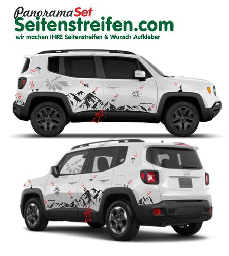 Jeep Renegade Matterhorn Berge Mountain Outdoor Pegatinas Laterales Set completo N°  3922