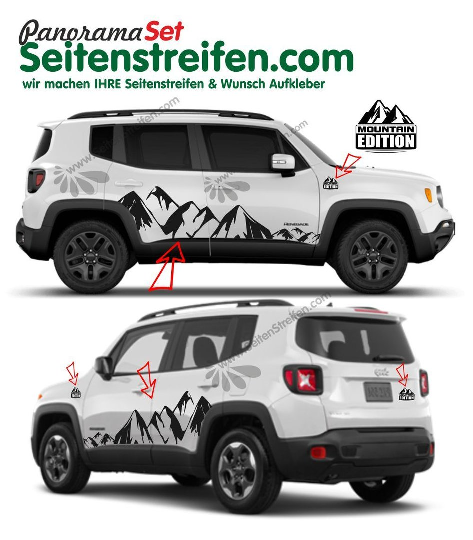 Jeep Renegade Mountain Edition Alpen Berge Mountain Seitenstreifen Aufkleber XL Komplett Set - 3923