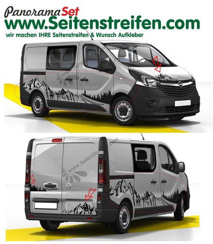 Opel Vivaro Berg Mountain Wald Outdoor & Wheels Panorama Set Aufkleber Dekor XXL Set - N°8012