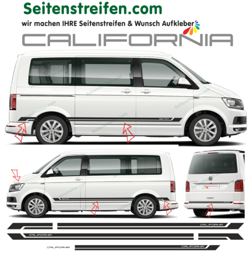 VW Bus T5 T6 - CALIFORNIA Edition 2018 bande latérale autocollant ensemble complet set -  N° 9564