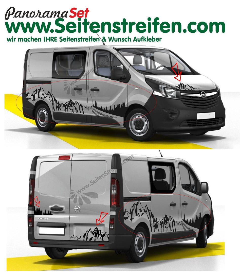 Renault Trafic Berg Mountain Wald Outdoor & Wheels Panorama Set Aufkleber Dekor XXL Set - N°7012