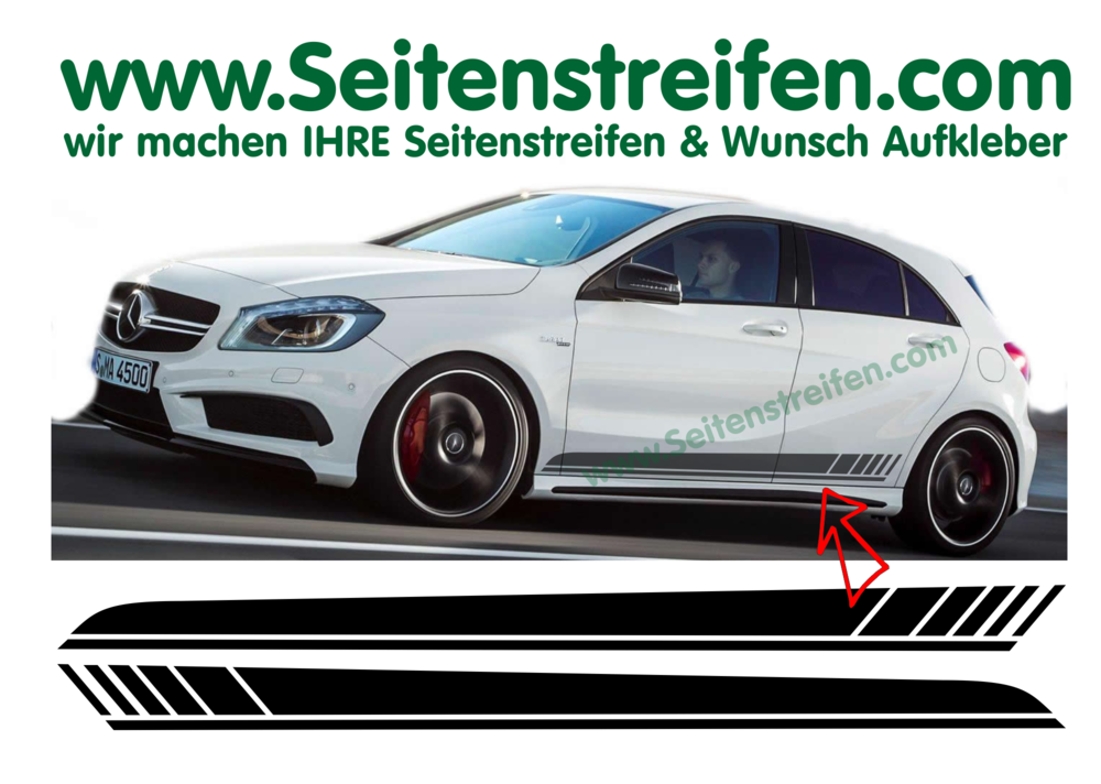 Mercedes Benz W176 A Clase Amg Edition 1 Replica Sticker Decal Side Stripe Complete Set