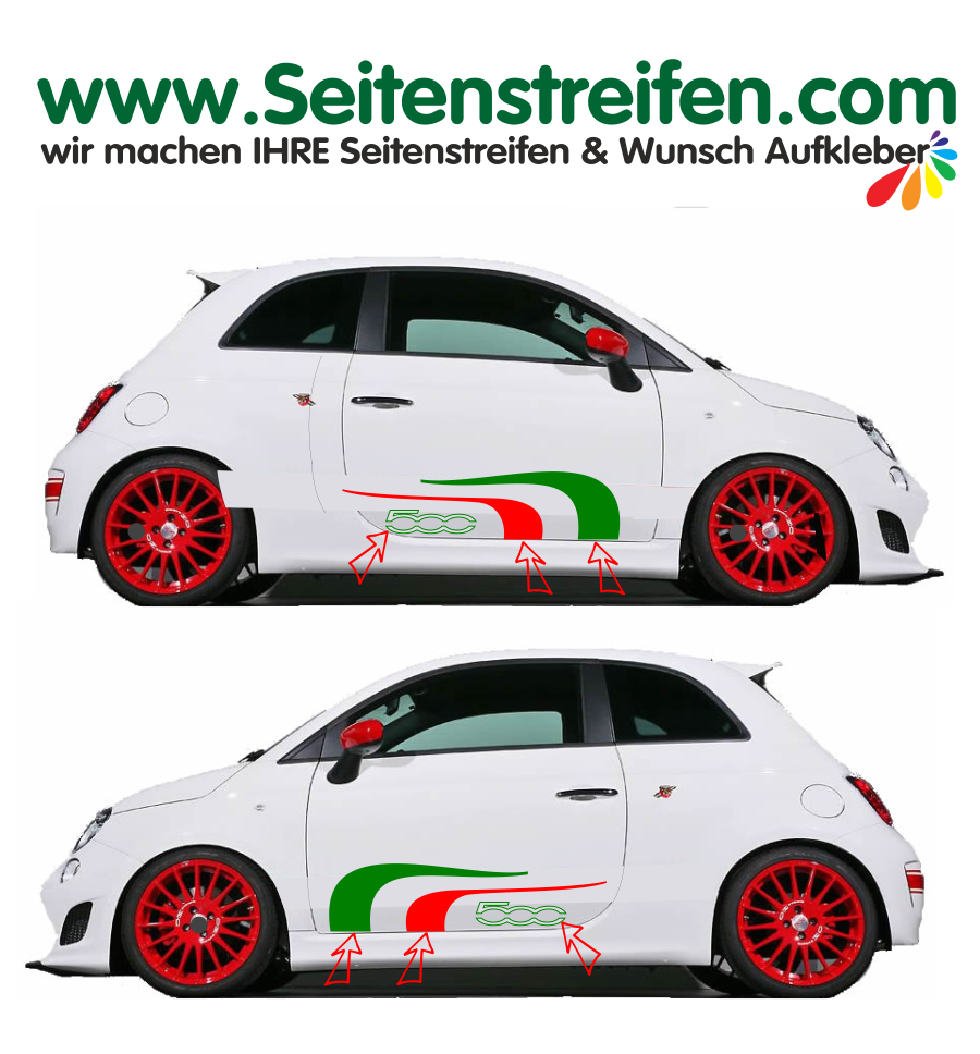 Fiat 500 italia New 2018 sticker samolepka set - N°U1907