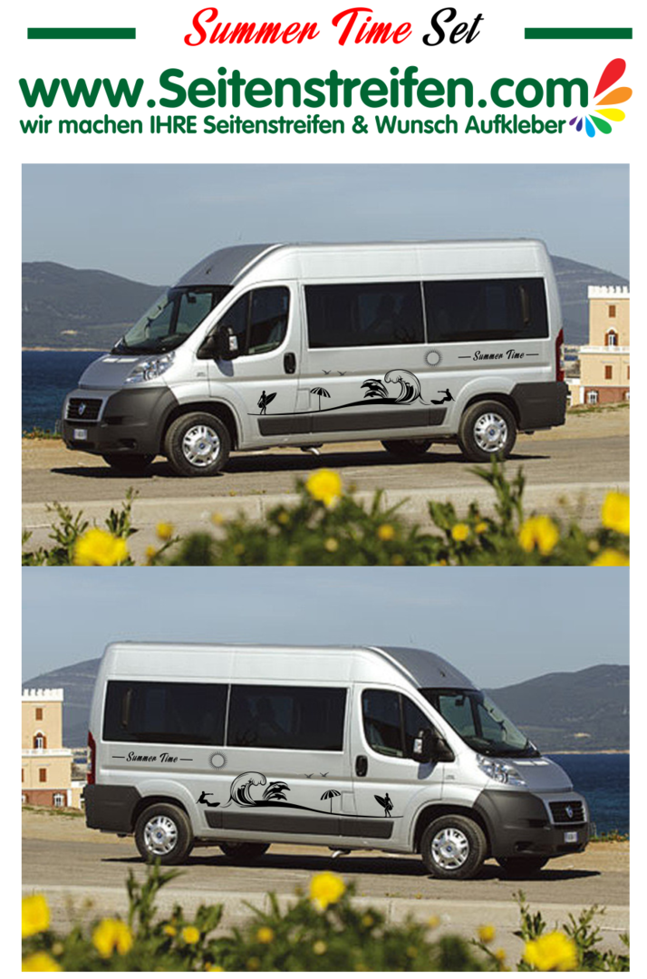Ducato -  Jumper - Boxer Beach Strand Welle Surfen Panorama Outdoor Aufkleber Dekor Set Nº.: U1912