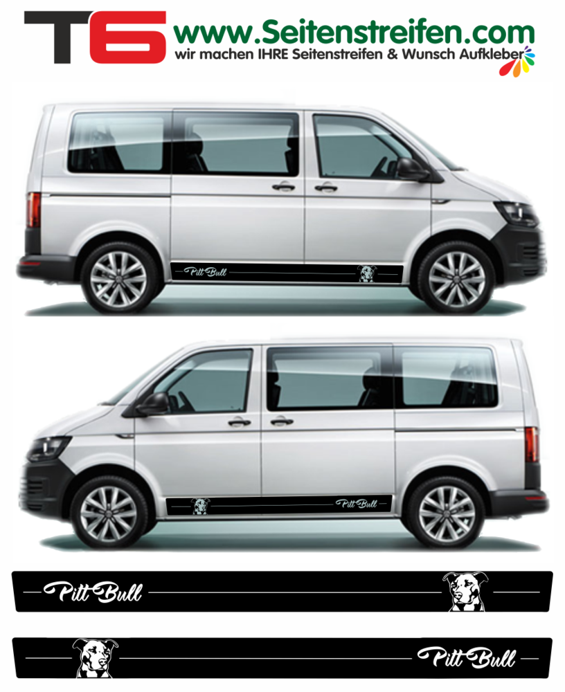 Vw van t4 t5 t6 pitt bull edition car sticker decal set nº