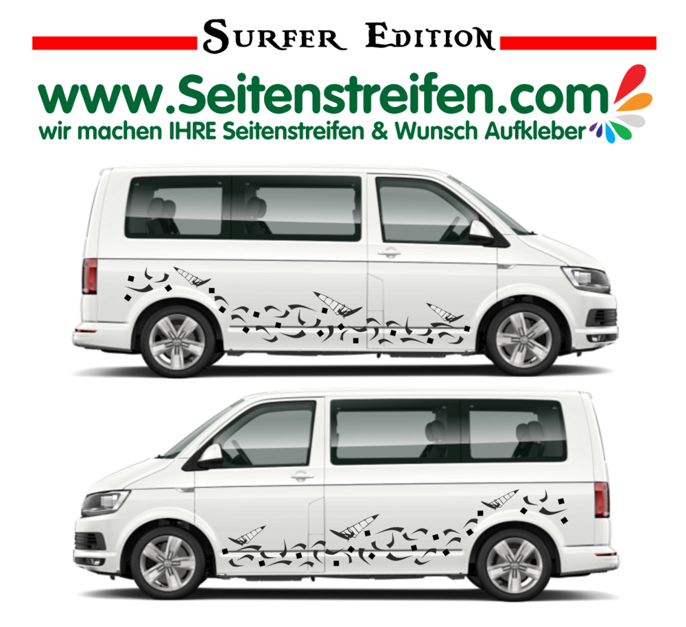 Vw van t4 t5 t6 surf 2018 edition car sticker decal set nº