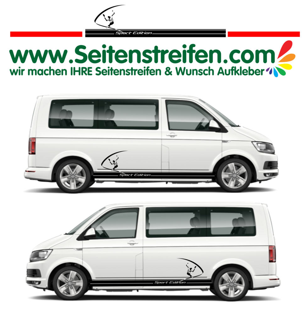 Vw van t4 t5 t6 tennis edition car sticker decal set nº u1914