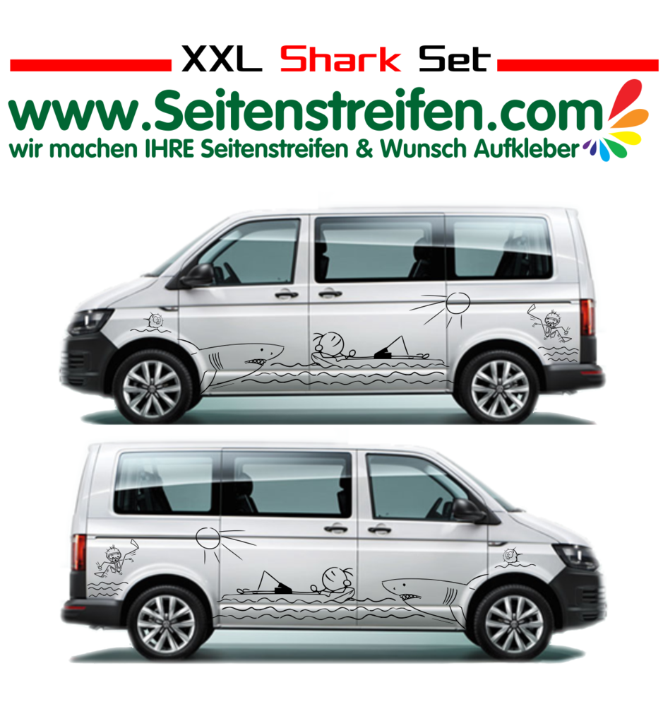 Vw van t4 t5 t6 xxl shark attack panorama beach car sticker decal set nº