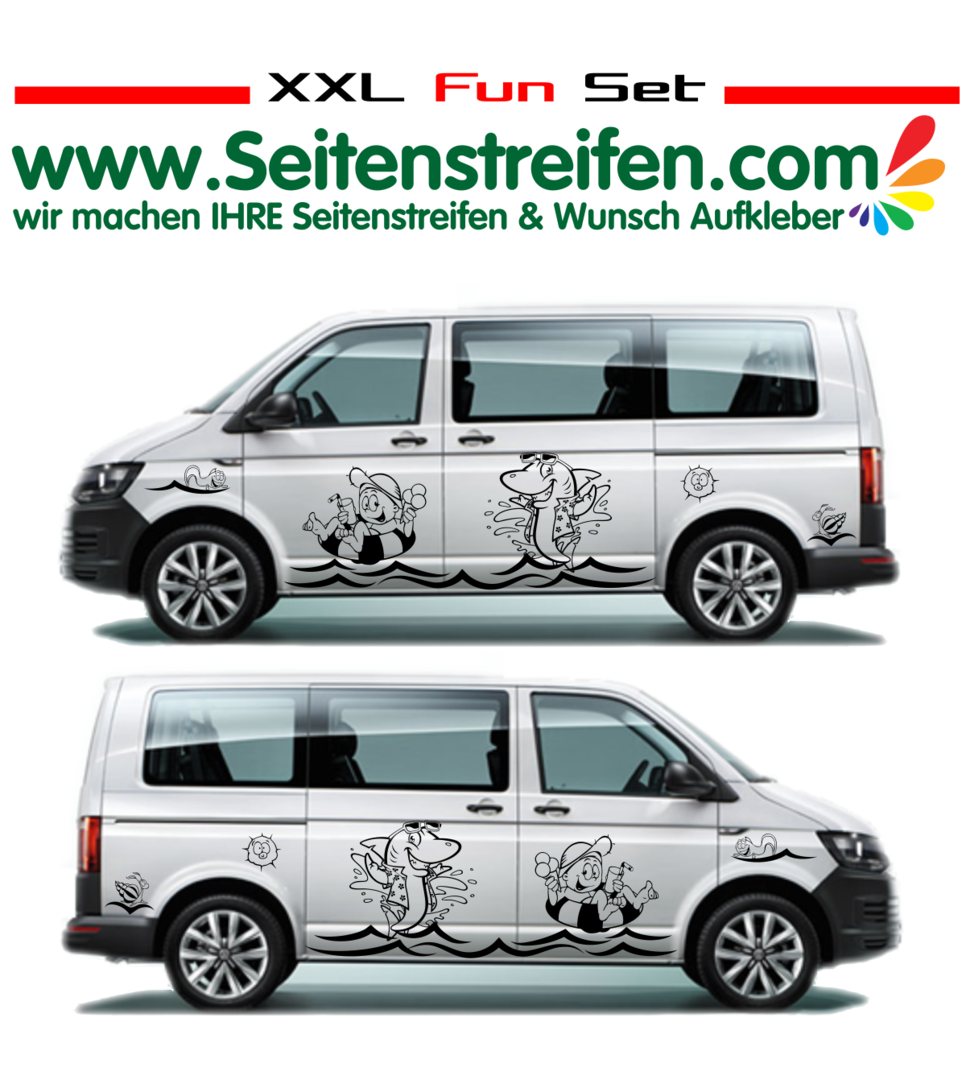 VW Bus T4 T5 T6 XXL Fun Beach Panorama Beach Aufkleber Dekor Set Nº.:U1917