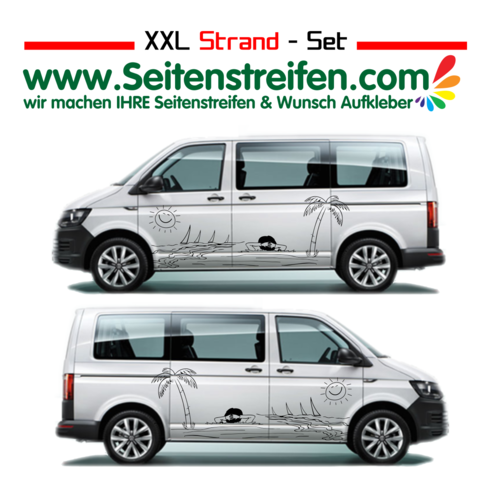 VW T4 T5 T6 XXL Beach Vacation Panorama Beach Stickers set completo de pegatinas laterales Nº U1918