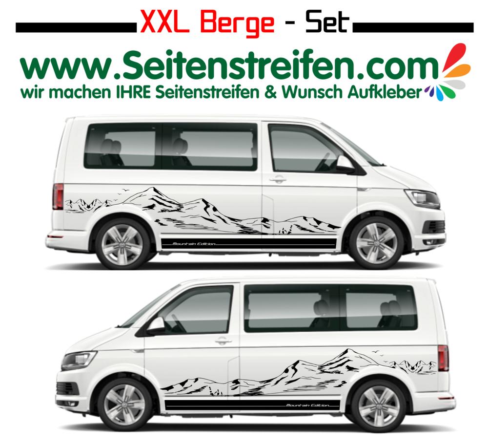 Vw Bus T4 T5 T6 Feine Xxl Berge Mountain Silhouette Seitenstreifen Aufkleber Dekor Set U1920
