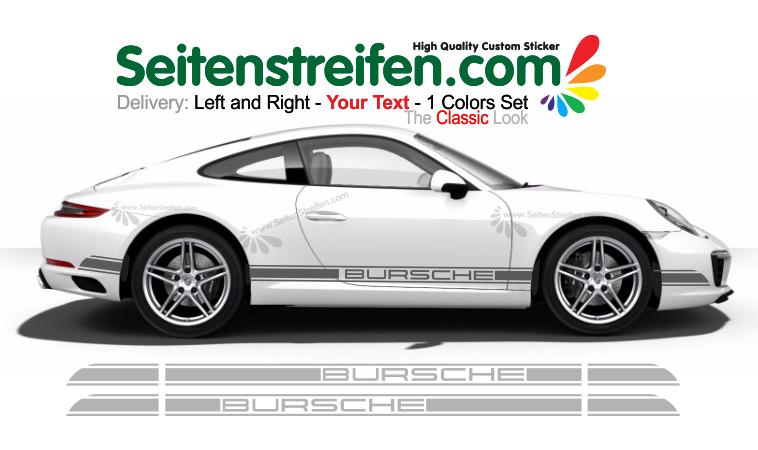 Porsche 911 (991) - YOUR TEXT - side stripes sticker decals set - N° 5991