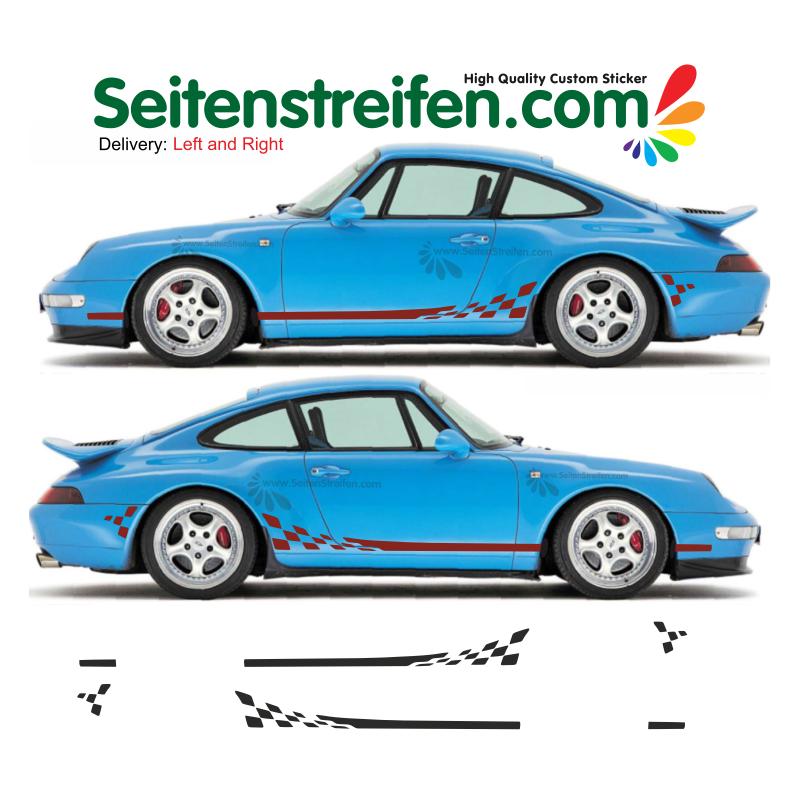 PORSCHE 911 (993) Checker XL side stripes sticker decals set - N° 5971