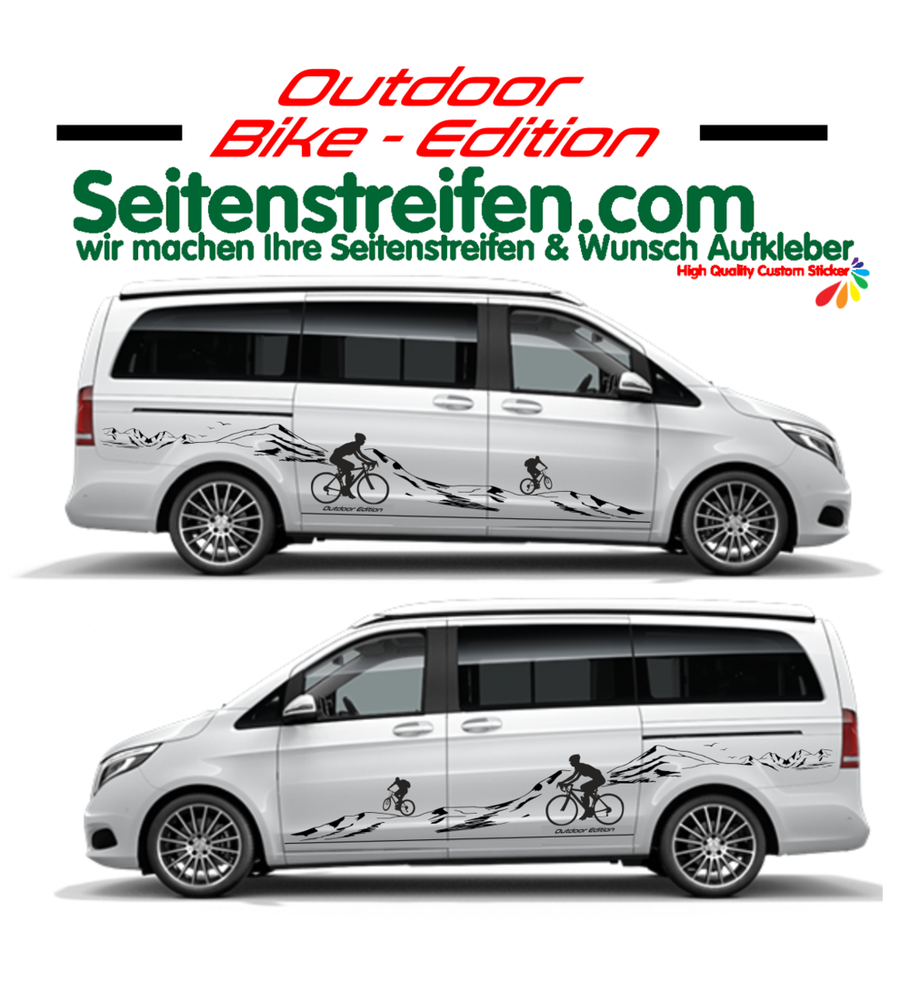 Mercedes Benz V Klasse Mountain Bike Rad MTB Berg Panorama Outdoor Berge Aufkleber Set N° U1939