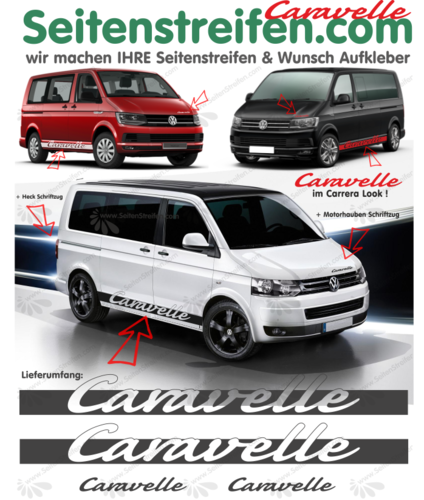 VW T4 T5 T6 Caravelle im Carrera Look  set completo de pegatinas laterales N°: 6066