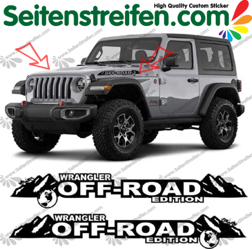 "Jeep Wrangler ""Off Road"" side Bonnet Decals / Stickers"
