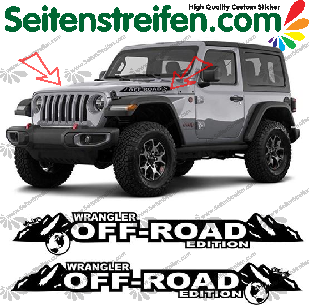 Jeep wrangler off road side bonnet decals stickers