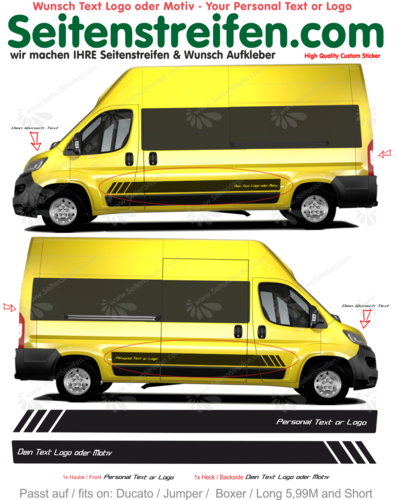Peugeot Boxer 5,99M - Your Text or Logo d'autocollant de voiture - Nº 7880