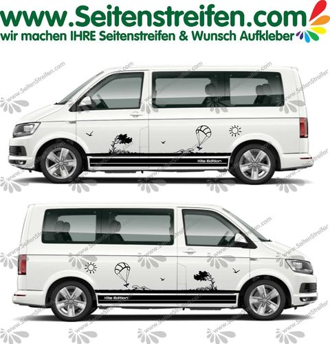 VW Bus T4 T5 T6 XXL Kite Edition Beach Meer Wind Sonne Kite Surf Aufkleber Dekor Set - U1991