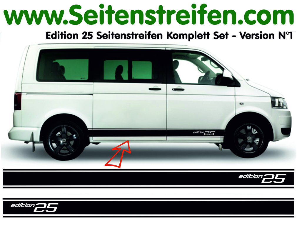 VW BUS T4 T5 T6 Edition 25 Seitenstreifen Aufkleber Komplett Set - Version N°1 - Art.Nr.: 5130