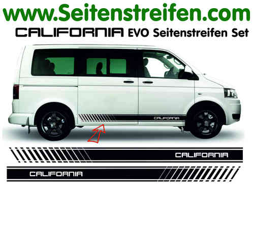 VW Bus T4 T5 California EVO Sticker bande latérale autocollant ensemble complet  N° 5105