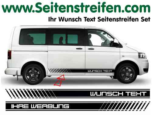 VW T4 T5 T6 Désirent Texte - Sticker bande latérale autocollant ensemble complet N° 5127
