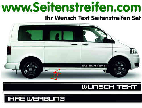 VW T4 T5 T6 Désirent Texte - Sticker bande latérale autocollant ensemble complet N° 5129
