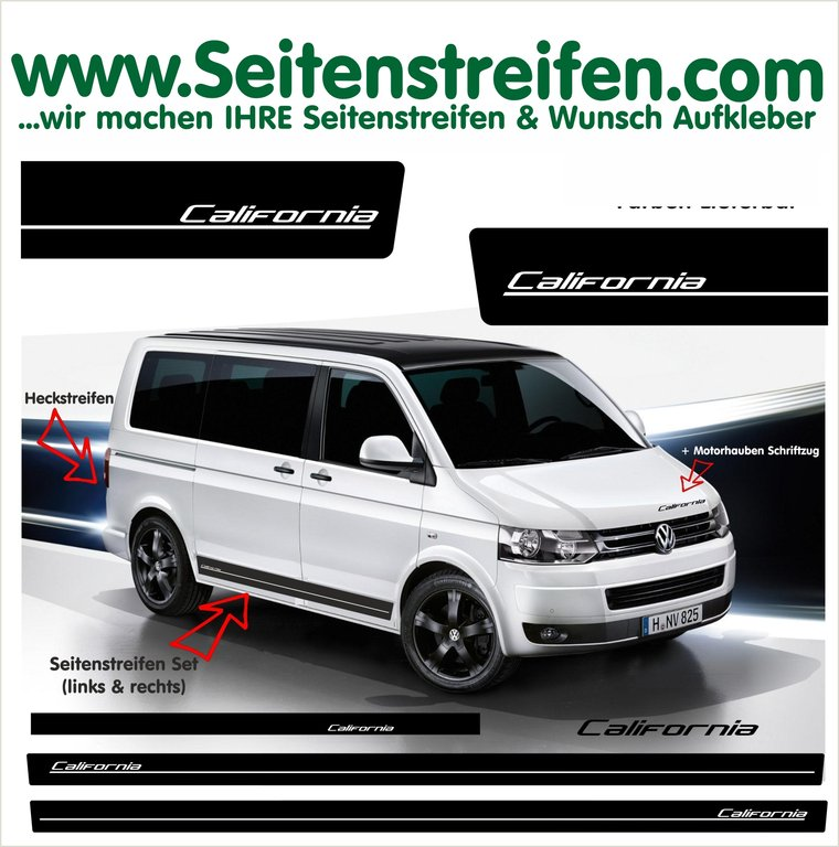 VW Bus T4 T5 T6 California Seitenstreifen Aufkleber Komplett Set edition Look - Art.Nr.: 5112