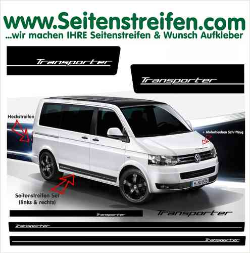 VW Bus T4 T5 Transporter Edition Sticker  bande latérale autocollant ensemble complet  N° 6011