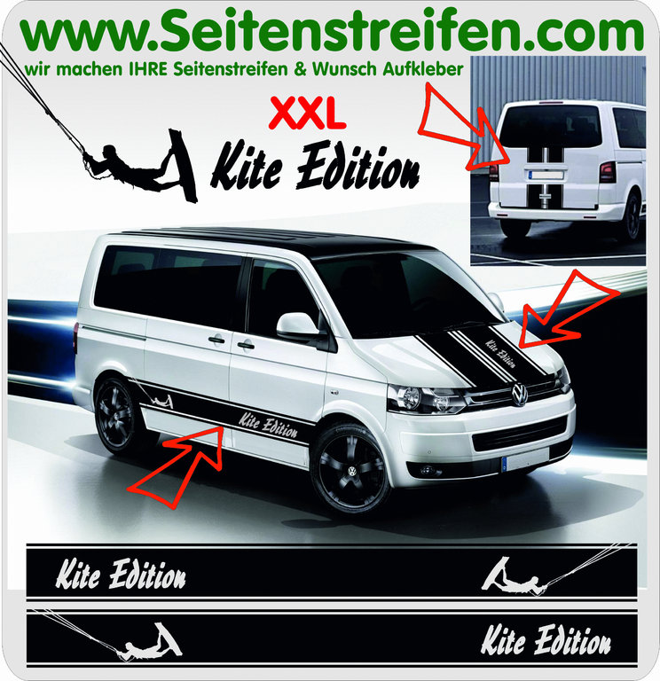 VW Bus T4 T5 T6 - Kite Edition - Side Stripes Graphics Decals Sticker Kit - N° 5024