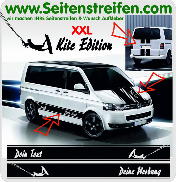 VW Bus T4 T5 T6 - YOUR TEXT Kite - Side Stripes Graphics Decals Sticker Kit - N° 5025