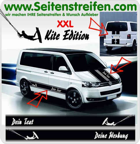 VW T4 T5 T6 Désirent Texte - Kite Surf sticker bande latérale autocollant ensemble complet  N° 5025