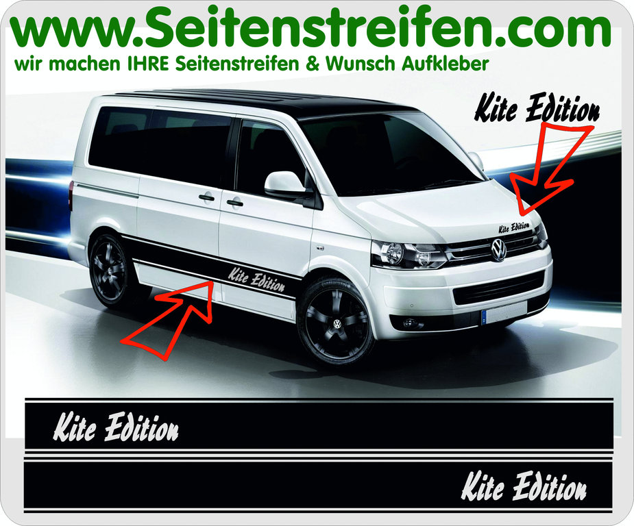VW Bus T4 T5 T6 - Kite Pulp Fiction Look - Side Stripes Graphics Decals Sticker Kit - N° 5027