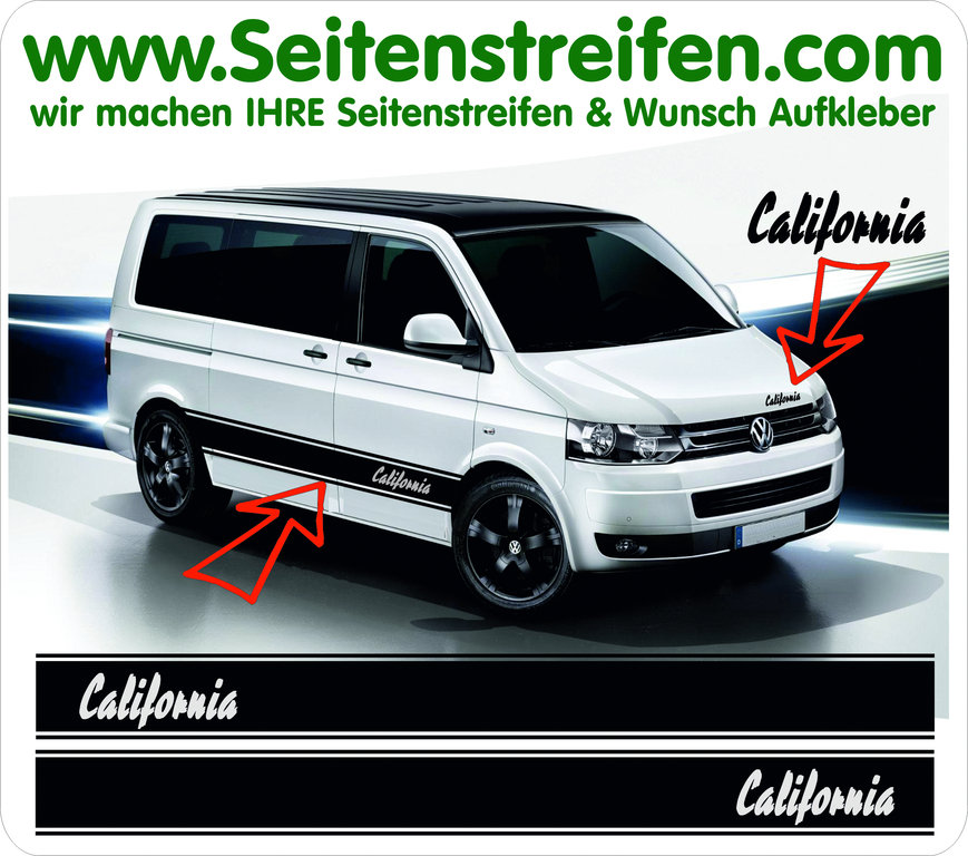 VW Bus T4 T5 T6 California Seitenstreifen Set im Pulp Fiction Style Art.Nr.: 5028